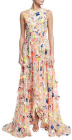 Jason Wu Flocked High-Low Silk Gown, Beige