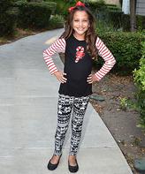 Beary Basics Black Candy Cane & Snowman Leggings - Toddler & Girls