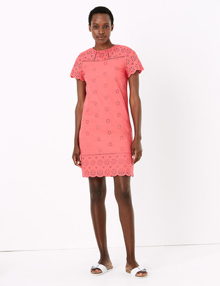Marks and Spencer Pure Cotton Broderie Shift Dress