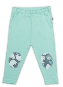 PureHeart Organics Baby Boys and Girls Snow Bear Mint Patch Trouser