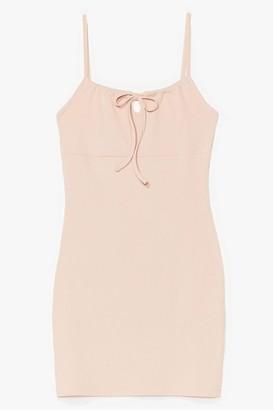 Nasty Gal Womens Can't Tie Us Down Ribbed Mini Dress - Black - 8