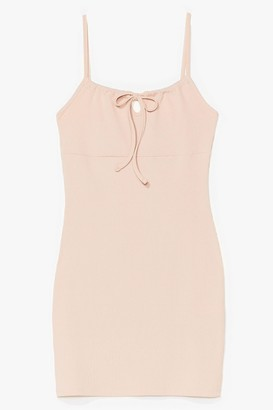 Nasty Gal Womens Can't Tie Us Down Ribbed Mini Dress - Nude