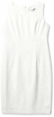 Kasper Women's Sleeveless Jewel Neck Ribbed FOIL Knit Sheath Dress