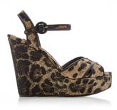 Dolce & Gabbana Leopard-Print Leather and Raffia Platform Sandals