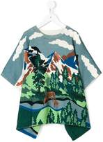 Stella McCartney Huckle Blue Landscape knitted cape