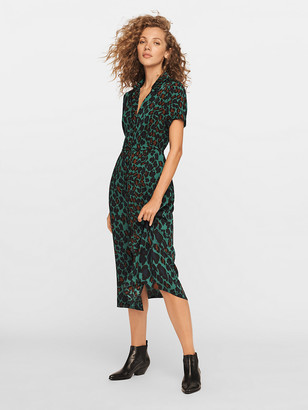 Diane von Furstenberg Georgia Crepe Midi Shirt Dress