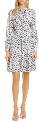 Rebecca Taylor Tailored by Chamomile Floral Long Sleeve Silk Blend Dress