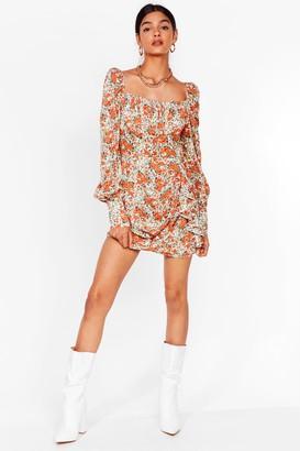 Nasty Gal Womens Lookin' Bud on the Dancefloor Floral Mini Dress - Cream