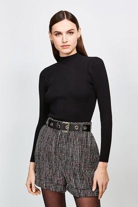 Karen Millen Tweed Eyelet Belted Shorts