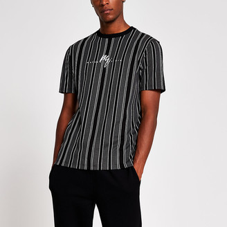 River Island Maison Riviera black stripe slim fit t-shirt