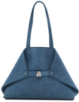 Akris Ai Small Denim-Print Top-Handle Bag, Light Blue