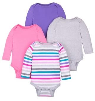 Little Star Organic Baby Girl Long Sleeve Pure Organic True Brights Bodysuits, 4-Pack