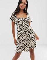 Asos Design DESIGN button through mini skater dress in leopard print