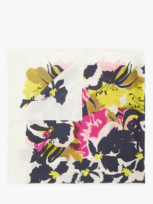 John Lewis & Partners Floral Silk Scarf, White/Multi
