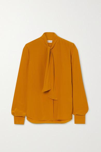 Victoria Beckham Pussy-bow Silk Crepe De Chine Blouse - Gold