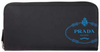 Prada Black Logo Continental Zip Wallet