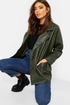 boohoo Belted Wrap Faux Leather Jacket
