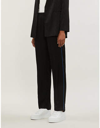 Maje Paloma straight relaxed-fit high-rise satin trousers