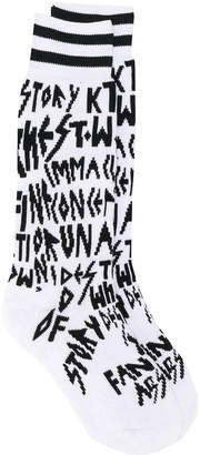 Kokon To Zai Letter Knit Stretch Socks