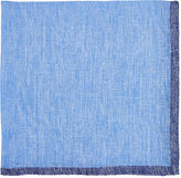 Fairfax Men's Bordered Slub-Weave Linen Pocket Square-LIGHT BLUE