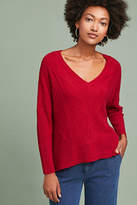 Knitted & Knotted Cashmere Cabled V-Neck Pullover
