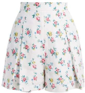 Emilia Wickstead Leslie High Waisted Linen Shorts - Womens - White Print