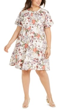 INC International Concepts Inc Plus Size Cotton Puff-Sleeve Dress, Created for Macy's