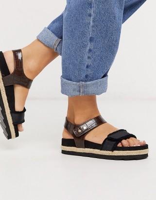 ASOS DESIGN Jitter chunky sporty espadrille sandals in black