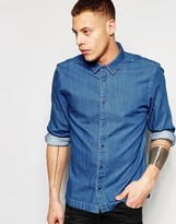 WÅVEN Denim Shirt Mimir Slim Fit Sea Blue Mid Wash