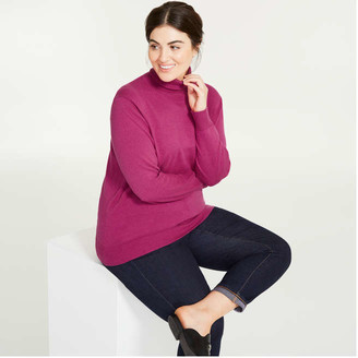 Joe Fresh Women+ Cashmere-Blend Turtleneck Sweater, Fuchsia (Size 2X)