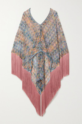Missoni Fringed Crochet-knit Poncho - Pink