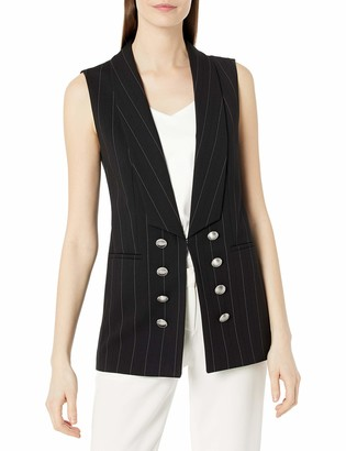 Tahari ASL Women's Long Shawl Collar Pinstriped Vest