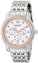 Akribos XXIV Women's AK626SS Lady Diamond Multifunction Diamond and Crystal Silver-tone Stainless Steel Bracelet Watch
