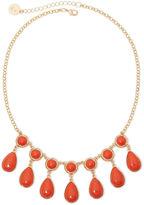 Liz Claiborne Gold-Tone Orange Stone Shower Necklace