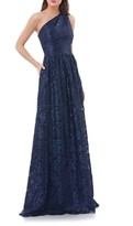 Carmen Marc Valvo Women's One Shoulder Sequin Lace Gown