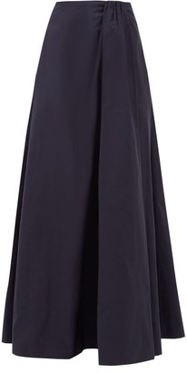 Valentino Gathered-waist Cotton-blend Faille Skirt - Navy