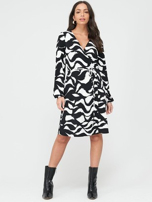 Wallis Swirl Wrap Dress - Monochrome