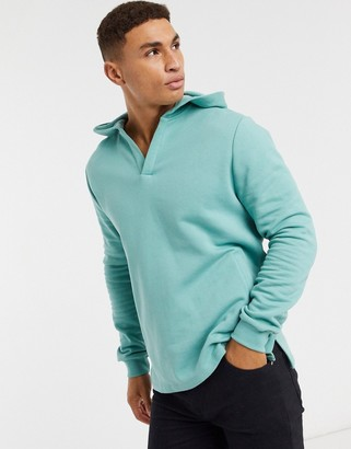 ASOS DESIGN hoodie with notch neck in green blue