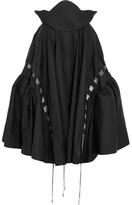 Antonio Berardi Mesh-trimmed Cotton-poplin Skirt - Black