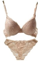 Nanier Nature Women's Solid Lace Push up Bra Set