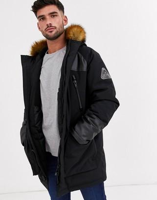 Topman parka jacket in black with faux hood