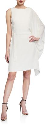 Halston Flowy-Sleeve Asymmetrical Georgette Dress