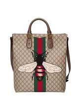 Gucci Men's Bee-Embroidered GG Supreme Canvas Tote Bag, Tan