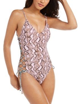 Rachel Roy Python Printed Side-Laced One-Piece Swimsuit Women's Swimsuit