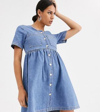 Reclaimed Vintage denim mini smock dress-Blue