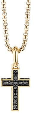David Yurman Cross Pendant in 18K Yellow Gold with Pave Black Diamonds