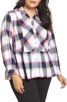 Caslon Plus Size Women's Plaid Peplum Shirt
