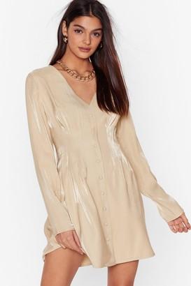 Nasty Gal Womens It Wasn't Meant to Satin Button-Down Mini Dress - Beige - 4, Beige