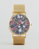 Reclaimed Vintage Floral Print Mesh Watch In Gold