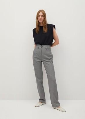 MANGO Gingham check pattern pants black - 2 - Women